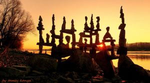 Stone balance art in the sunset from Hungary by tom-tom1969