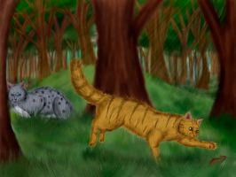 Ashfur and Lionpaw. First hunting. by Alisa222