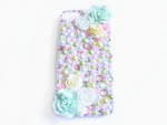 Pink Mint Yellow and White Rose Deco iPhone 5 Case by Kuppiecake
