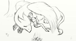 Anthryll + her Griffin sketch by InTheAier