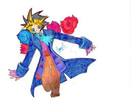 Colored Vamp Yugi with roses by xMystery21x