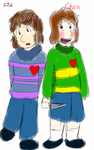 Frisk and Chara by Kit-The-Wolfy
