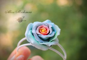 Rainbow rose polymer clay and metal bracelet by Krinna