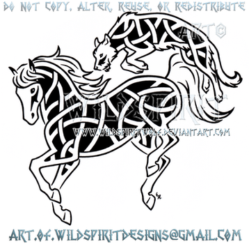 Horse And Hound Knotwork Design by WildSpiritWolf