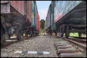 Between old trains by Pildik