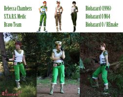 Rebecca Chambers RE costume versions comparison by Rejiclad