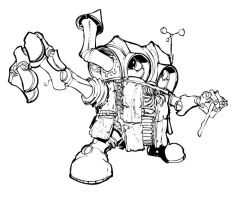 Wooden Robot BW by Pencilbags