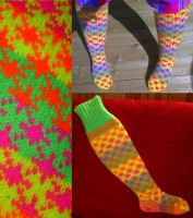 Neon fair-isle stockings by KnitLizzy
