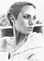 Angelina Jolie Portrait Drawing by darrenOhhh