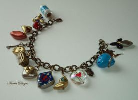 Zelda OoT n MM Charm Bracelet AntiqueGold Handmade by TorresDesigns