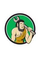 Neanderthal CaveMan With Spanner Circle Cartoon by apatrimonio