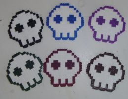 Hama beads - Sous bocks skulls by acidezabs
