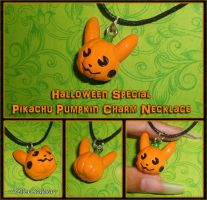 Pokemon - Pikachu Pumpkin Necklace - Halloween by YellerCrakka