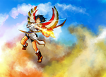 Battle above Palutena's temple by Akialyne