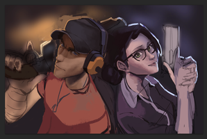 Scout and Ms.Pauling. WIP by Timoyan