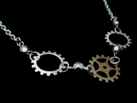 Steampunk Gears Necklace by mzvampy