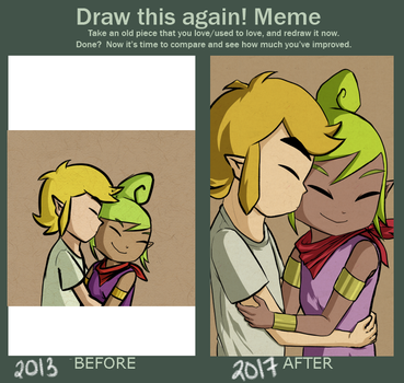 Draw this again meme! Peck on the cheek. by Icy-Snowflakes