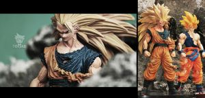 Super Saiyan 3 Goku Scultures series figure by jeffbedash325