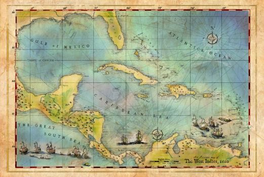 Caribbean Pirate + Treasure Map 1660 (Colored) by zombie2012