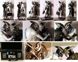 Mass Effect - Saren and Nihlus sculpture - details by virtualmorrigan