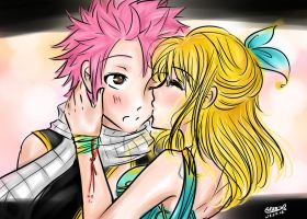 Fairy Tail- Kiss on the cheek. by Berichan