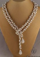 White pearl lariat with bells N1314 by Fleur-de-Irk