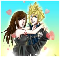 FF7AC: Cloud x Tifa forever by DarkLitria