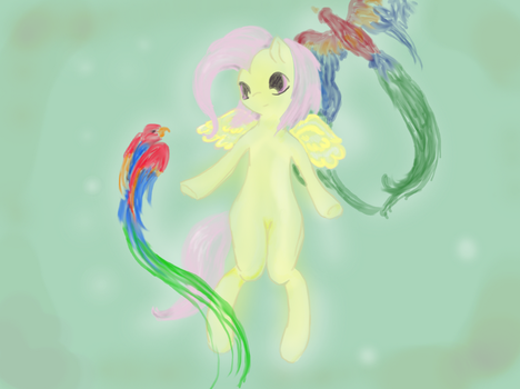 Fluttershy with parrots by pasca93