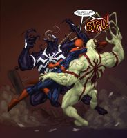 Spidey VS Venom VS Antivenom by DeadlyPancake