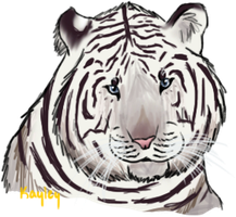 quick white tiger headshot by gailagj