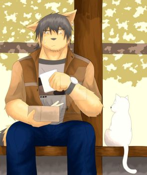 The Guy and A Cat ::Color:: by asakiprivateroom