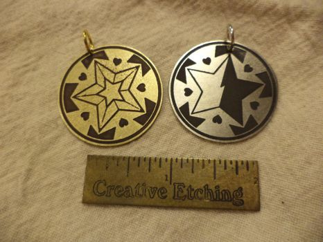 Star Butterfly Pendants by creativeetching