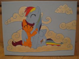 RainbowDash and Scootaloo hugging -for sale- by fluffylovey