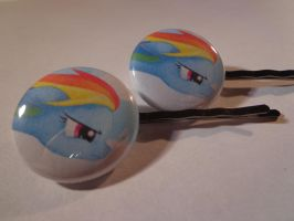 Rainbow Dash hair pins. by MermaidSoupButtons