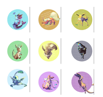 Eeveelution Buttons! by TheKiwiSlayer
