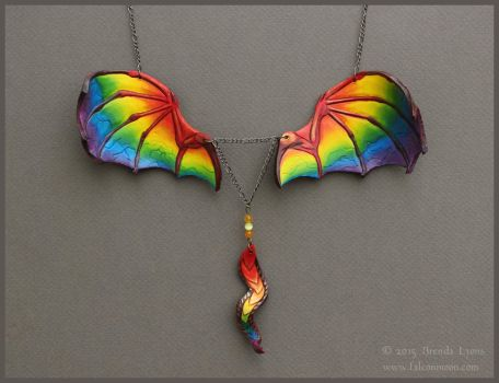 Rainbow Leather Dragon Wings Necklace by windfalcon