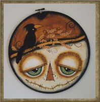 3D Bug-Eyed Haunted Halloween Hoop Scarecrow by peggytoes