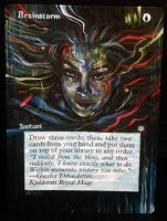 Magic the Gathering alter: Brainstorm 11/7/14 by Ondal-the-Fool