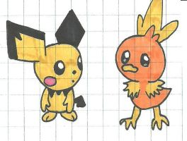 Pichu and Torchic by cmara