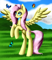 Fluttershy and butterflies by ArtyJoyful