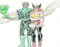 Green Lantern and Hawkgirl by theaven