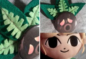 Deku Mask button with leaves by IamSare