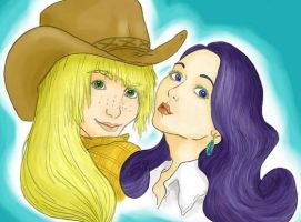 MLP FIM Humanized AJ and Rarity by Satine-Lamort