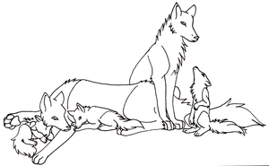 Free Wolf Family Lineart 2 by trisomy