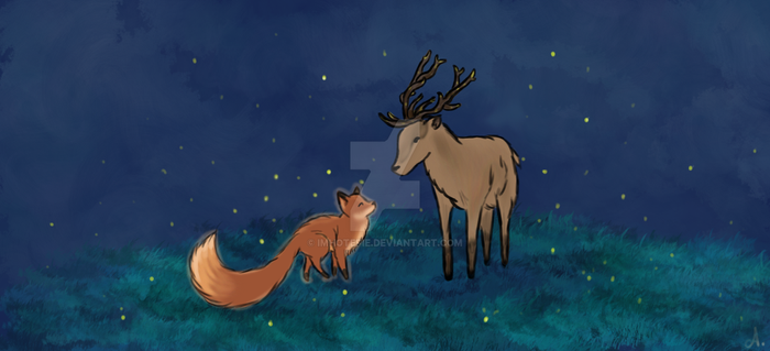 The Fox and The Deer by Imhotepie