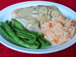 Mushroom Pork Chops with Carrot Mashed Potatoes by Kitteh-Pawz