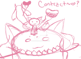 Kyubey Eating Himself Commission by MissChibiChild