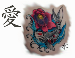 Koi and Lotus tattoo by Phoenix-Cry