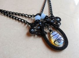 Goth Victorian teardrop opalite necklace by AbstractFantasyShop