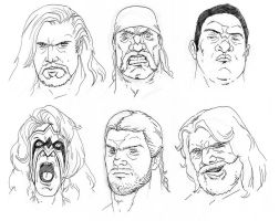 Wrestler sketches 2 by BloodySamoan